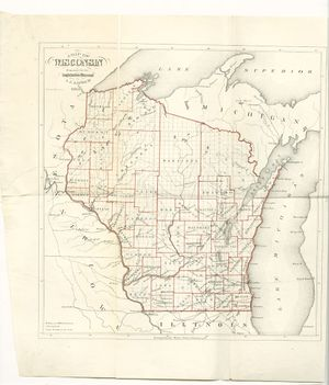Map of Wisconsin created by Increase Lapham found at https://commons.wikimedia.org/wiki/File:1865_map-Wisconsin.jpg.